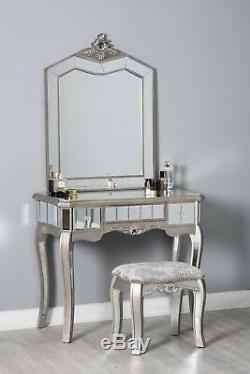 Verre Mirrored Coiffeuse Tabouret Style Français Chic Antique Meubles De Chambre À Coucher