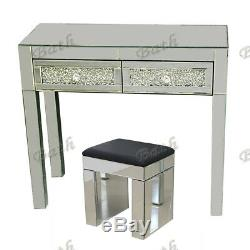 Verre Mirrored Furniture Coiffeuse 2 Tiroirs / Console Chambre Tabouret