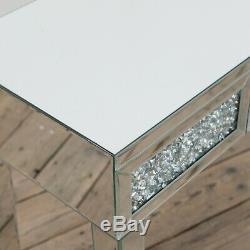 Verre Moderne Argent Mirrored Concassée Diamant Console Salle Latérale Coiffeuse