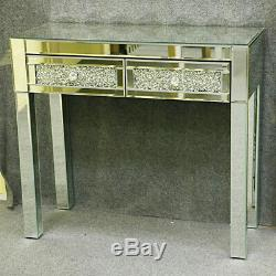 Verre Mousseux Mirrored Coiffeuse Console 2 Tiroirs Dresser-uk