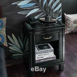 Verre Noir Mirrored Chambre Dressing Meubles Sets De Table Et Tables De Chevet