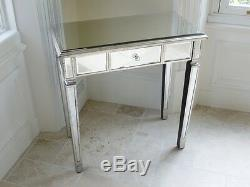 Verre Superbe Vénitien Mirrored Chambre Coiffeuse Ou Console Table 3698