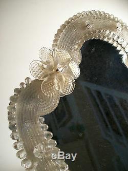 Vintage En Verre De Murano Coiffeuse / Vanity Miroir Italie Milieu Du 20e Siècle