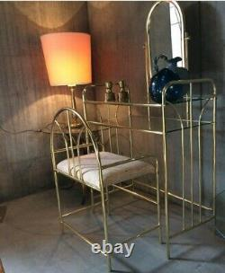 Vintage Hollywood Regency Dressing Table Vanity Mirror Glass Tier Avec Chaise