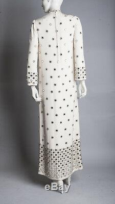 Vintage Mod Martha Phillips Verre Miroirs Soie Robe Ivoire