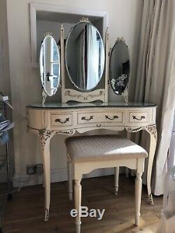 Vintage Olympus Français Table De Toilette Louis, Miroir, Shabby Chic, Doré, Rococo