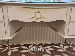 Vintage Shabby Chic Louis Style Rein Table De Coiffeuse Avec Selles De Miroir En Verre