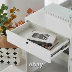 Zoonfa Dressing Table With4 Drawers & Sliding Mirror Stool Make Up Desk Vanity Set